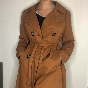 Beautiful bright brown coat with big buttons